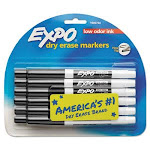 Expo Low Odor Whiteboard Marker, Fine Point, Black, 12 Markers (SAN86001)