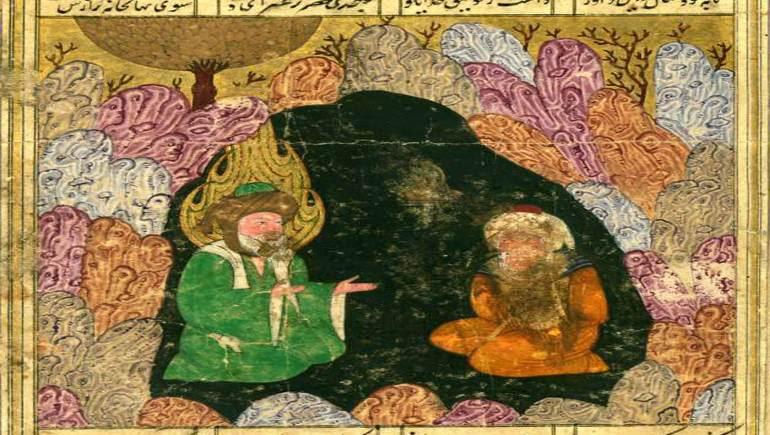 الخضر مع أحد الزهاد، منمنمة فارسية من القرن السادس عشر، متحف والترز.