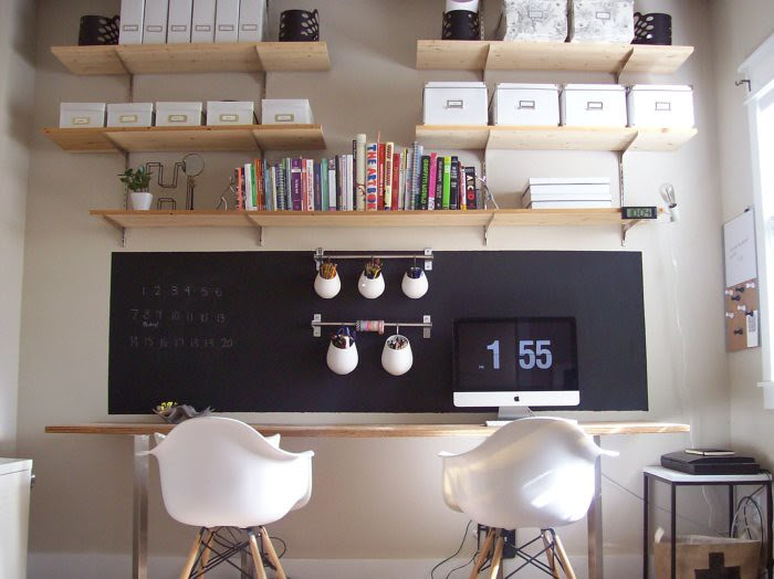 office with chalkboard