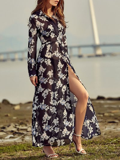 Vintage Floral Print Shirt Collar Long Sleeve Dress