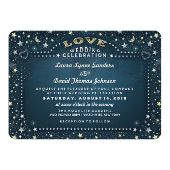 Teal White Gold Moon Stars Reception Info On Back 5x7 Paper Invitation Card by juliea2010 at Zazzle