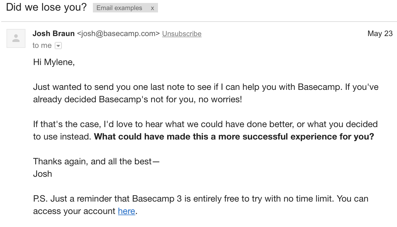 Reactivate email example Basecamp