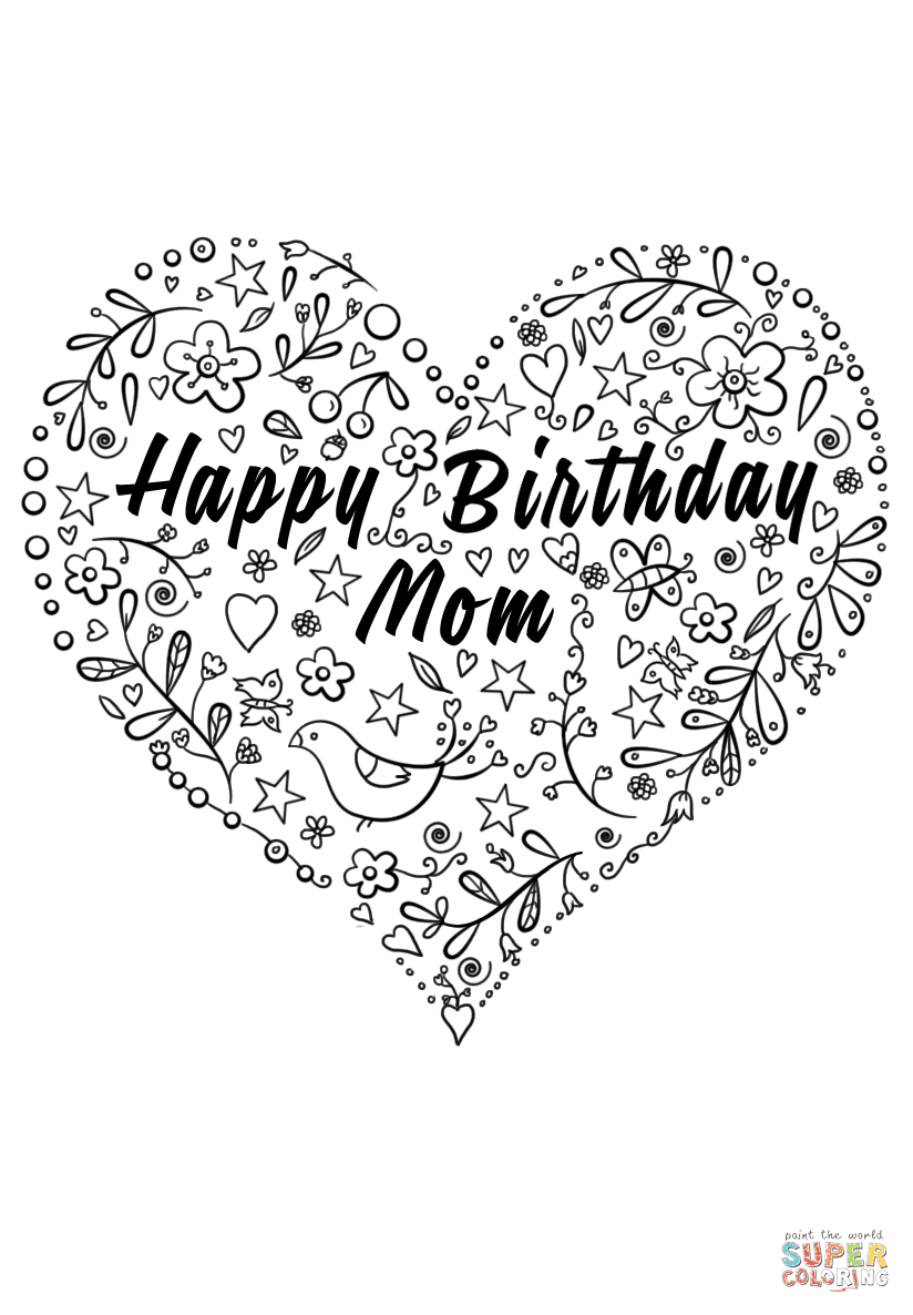 Happy Birday Cards For Moms Coloring Pages - Kidsuki