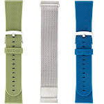 WITHit Band Kit for Fitbit Versa, Silver/Olive/Navy - 3 pack