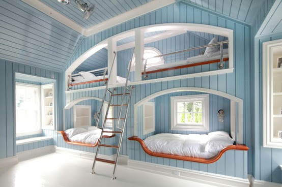 Four Kids One Room blue Bunk Beds