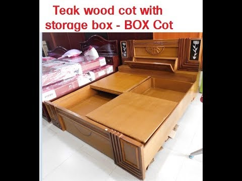 Teak wood cot with storage / Bed With Storage box / bed room furniture