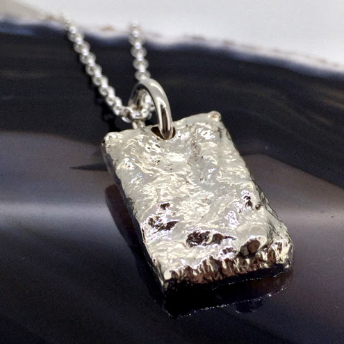 Sterling Silver Rectangular Tag Pendant with Reticulated Texture