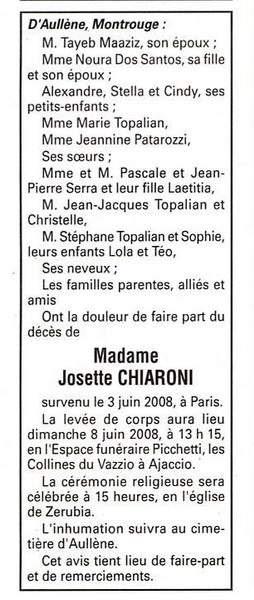 Décès Chiaroni Maaziz Josette