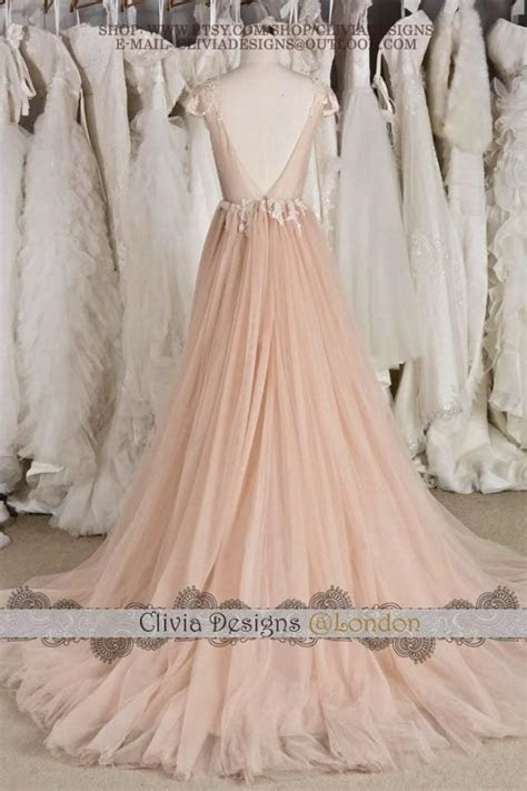 Blush Cap Sleeve Illusion Neckline Backless Lace Tulle