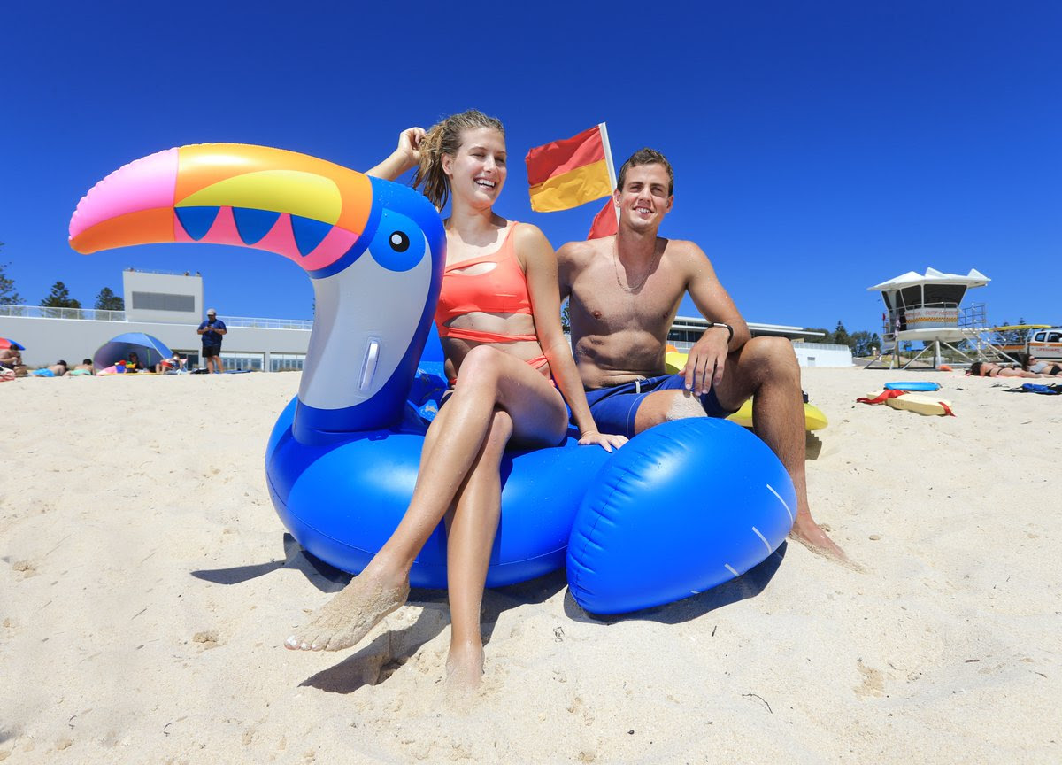 Eugenie Bouchard in Red Swimsuit at the beach in Perth