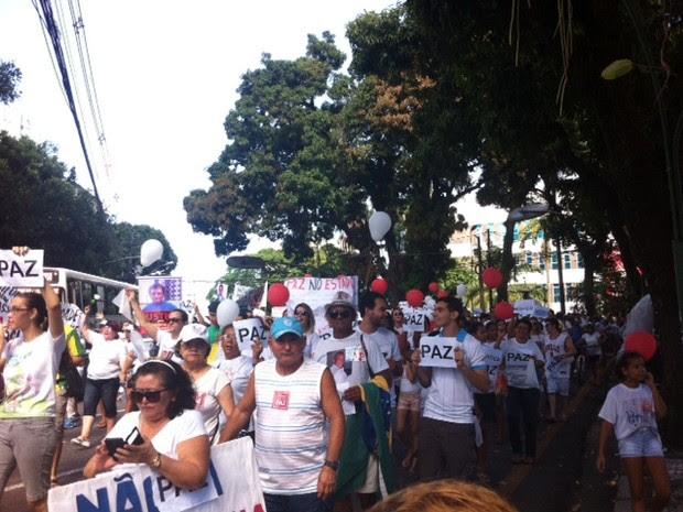 Caminhada percorreu a avenida Presidente Vargas, em Belém. (Foto: Dominik Giusti/G1)