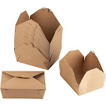 Kraft Paper Take-Out Box - 100-Pack Disposable Food Containers, 71oz Pre-Assembled To Go Lunch Boxes for Restaurants, Fast Food Service, Picnic, Easy