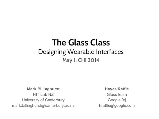 The Glass Class: Designing Wearable Interfaces