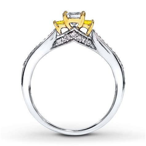 1 Carat Trilogy Princess White and Yellow Diamond