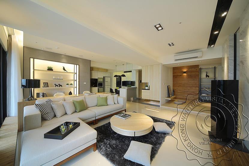 Japan South Korea Style Living Room Interior Rendering ...