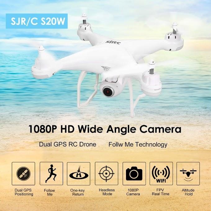 SJ R/C S20W FPV 1080P Camera Selfie Altitude Hold Drone Headless Mode Auto Return Takeoff/Landing Hover GPS RC Quadcopter