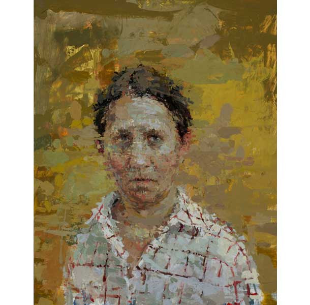 Ann Gale, Self Portrait with Red Grid 2012 oil on masonite, 14 x 11 inches  image courtesy of Dolby Chadwick and the artist
