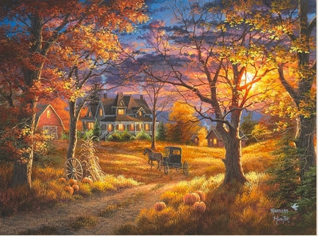 "Abraham Hunter Hand Signed and Numbered Limited Edition Embellished Canvas Giclee:""Thanksgiving Day"" - New Arrivals"