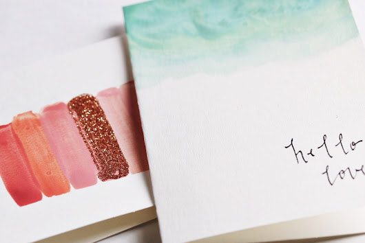 DIY watercolor cards with calligraphy and glitter