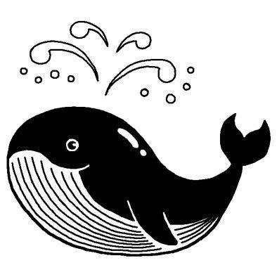 クジラ動物無料白黒イラスト素材