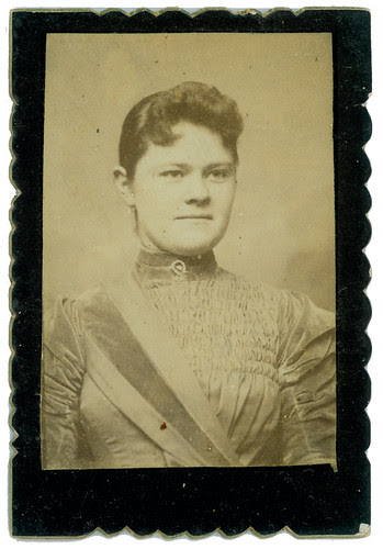 Portrait of woman on card