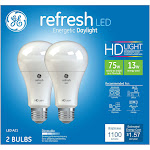 GE Refresh Light Bulbs, LED, Daylight, 13 Watts - 2 bulbs