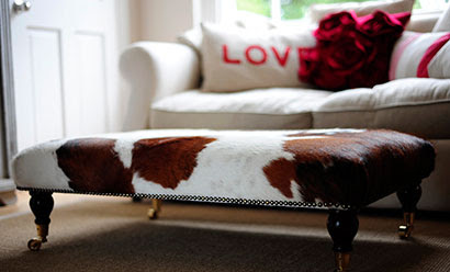 Cowhide Footstools – Put Your Feet Up In Luxurious Natural Style | Cowhide Rugs & Reindeer Hides |  City Cows Blog