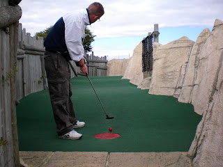 Richard Gottfried playing the Treasure Island Adventure Mini Golf course in Eastbourne