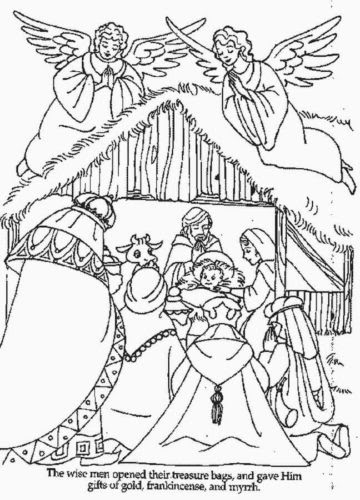 Coloring Pages For Kids Nativity Drawing With Crayons