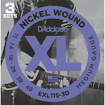 D'Addario EXL115-3D Nickel Wound Electric Guitar Strings, 3 Sets, Medium/Blues-Jazz Rock