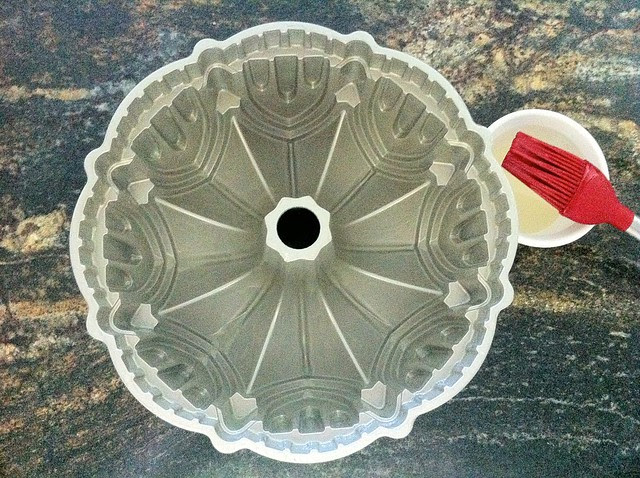 10 Cup Bundt Pan Brushed with Melted Shortening