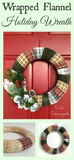 I've always wanted a wreath that was Christmas-y AND winter-y so that it could stay put through February, and now I have one! Flannel scraps from thrift store flannel shirts in holiday colors make for the perfect mixed plaid wreath. Add some sprigs of greenery, pine cones, and red berries, and you have a gorgeous piece of door decor! Love this thrifted Christmas upcycle / repurpose project from #SadieSeasongoods .