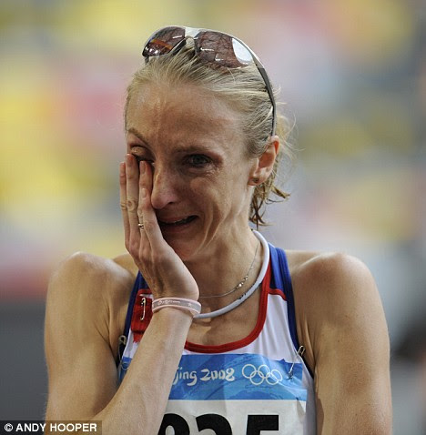 Inconsolable: Paula Radcliffe can't hide her disappointment at finishing in 23rd place