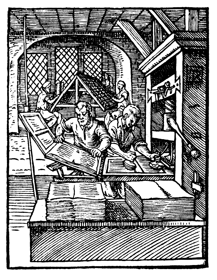 Gutenberg press in 1568 from Wikimedia
