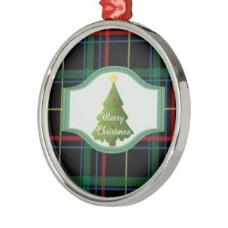 Tartan Plaid Christmas Tree Round Ornament