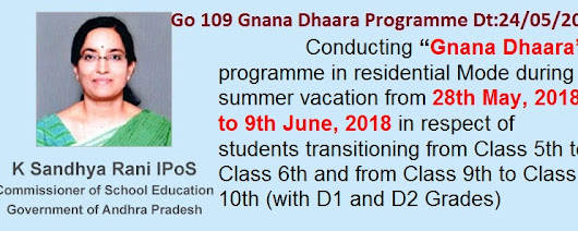 AP Go.109 Gnana Dhaara programme for D1, D2 Grade Students - Teachers Badi - TSBADI