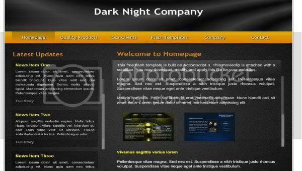 Flash Dark Black Orange Web2.0 Template