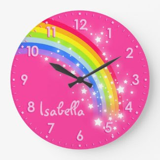 Personalized pink rainbow clock for girls.
