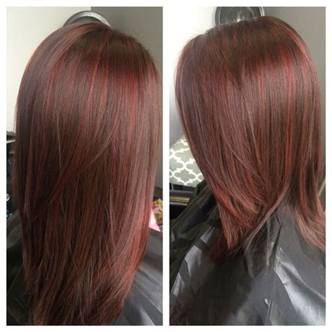 red lowlights  brown   foils red