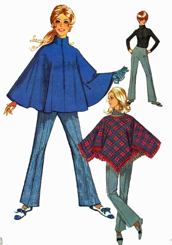 60s style vintage poncho