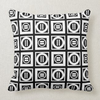 White on Black Geometric Equal Sign Pattern Throw Pillows