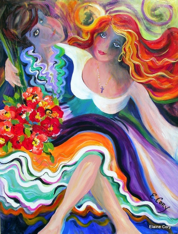 Salsa Dancing  30 x 40  Original Painting by Elaine Cory
