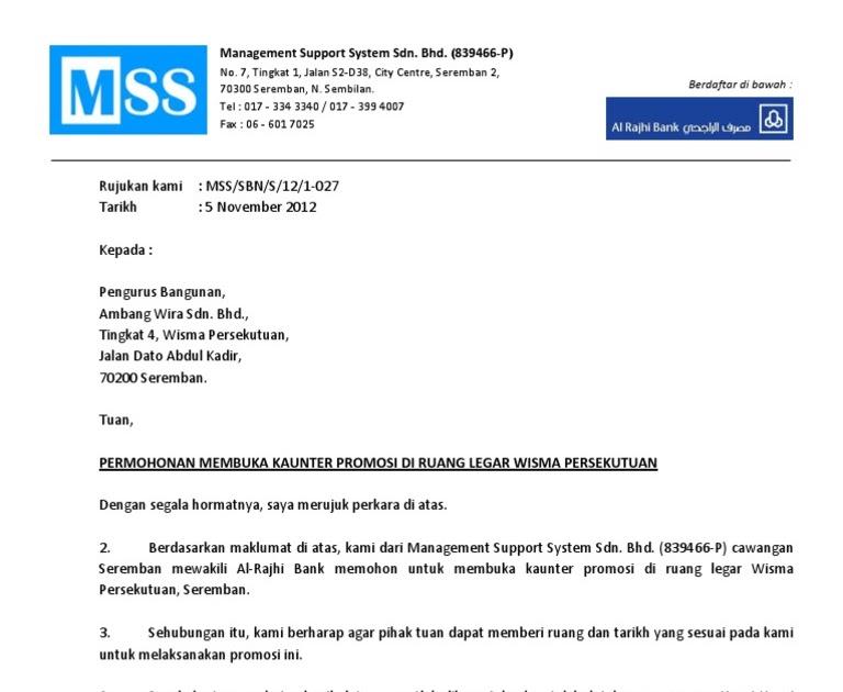 Contoh Surat Rasmi Permohonan Membuka Akaun Bank