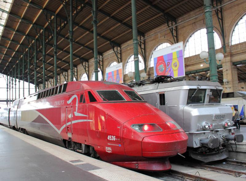 Thalys TGV trainset in Gare du Nord in Paris