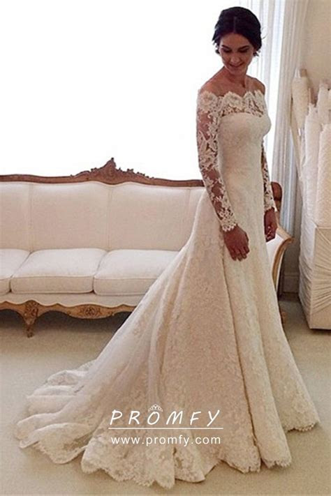 Modest Ivory Lace Mermaid Wedding Dress Off the shoulder