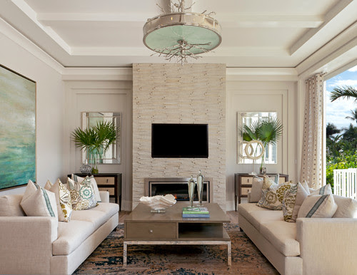 Beach Style Living Room by Naples Interior Designers & Decorators Ficarra Design Associates, Inc.