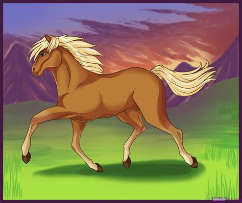 draw  running horse step  step farm animals
