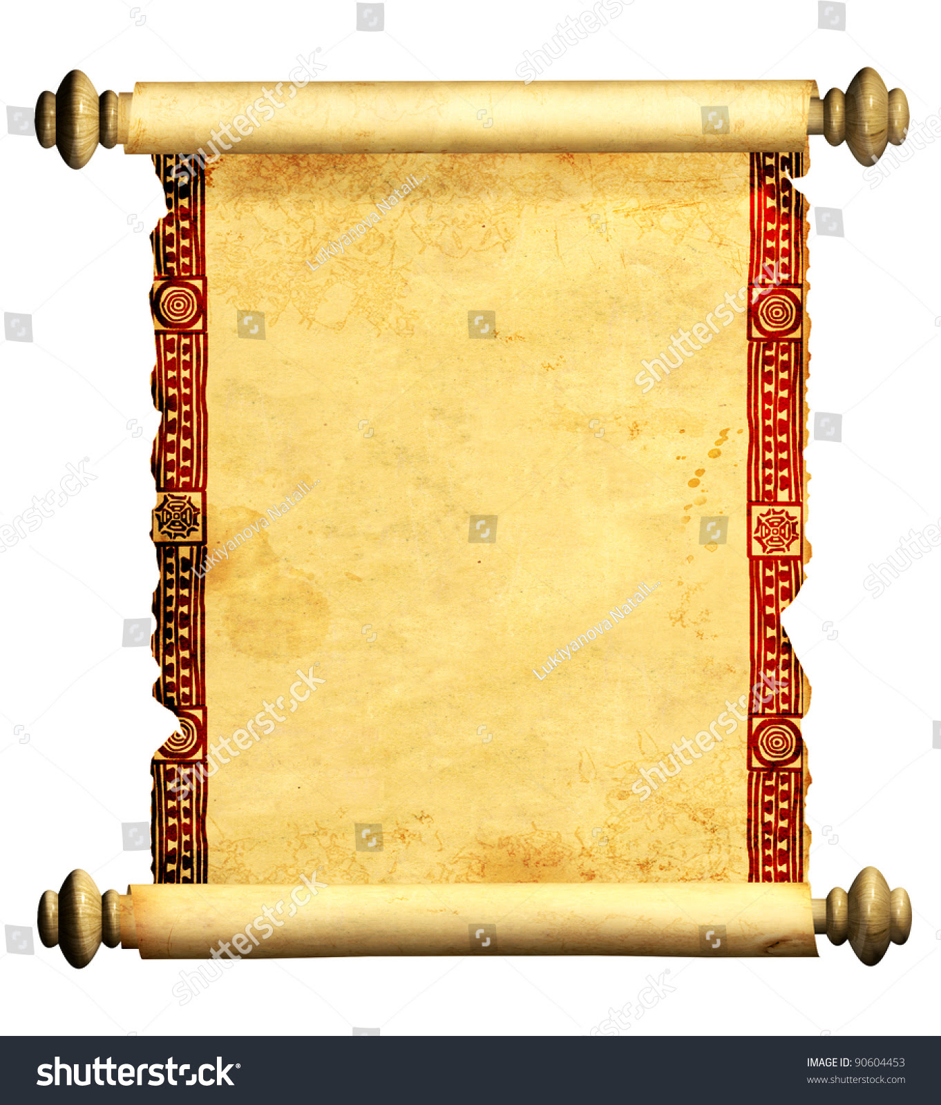 Scroll Old Parchment Object Isolated Over Stock Illustration ...