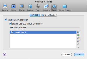 Adding USB Filters for connecting USB Devices in Windows 7