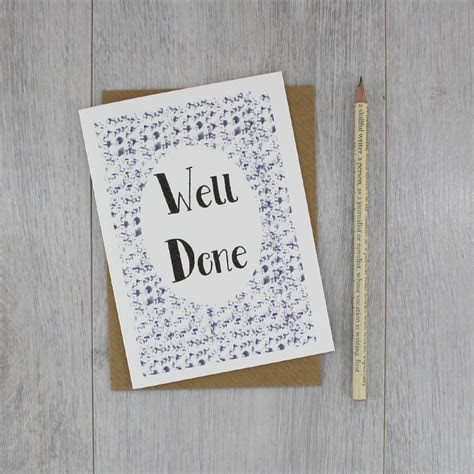 Well Done Card. Congratulations Card by six0six design